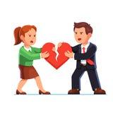 Uomo e donna che strappano cuore rosso a metà illustrazione di stock