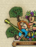 uomo e donna dell'annata nel paradiso Fotografia Stock