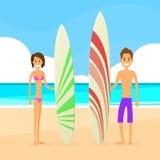 Uomo e donna delle coppie del surfista con il bordo praticante il surfing illustrazione vettoriale