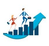 Uomo e donna di affari con le cartelle che camminano su un grafico in aumento di crescita di reddito Illustrazione di vettore, is royalty illustrazione gratis