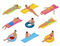 Uomo e donna isometrici sul materasso di aria di galleggiamento Illustrazione di vettore Godere dell'abbronzatura Viaggio, feste, illustrazione vettoriale