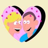 uomo e donna nel cuore Fotografia Stock Libera da Diritti