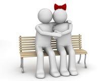Uomo e donna nell'amore su un banco Illustrazione di Stock