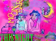 Uomo e donna nell'illustrazione del buffet della luna Fotografie Stock