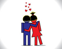 Uomo e donna nell'illustrazione di concetto di amore Immagine Stock Libera da Diritti