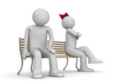 Uomo e donna offensivi su un banco Illustrazione di Stock