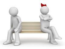 Uomo e donna offensivi su un banco Illustrazione Vettoriale