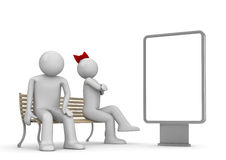 Uomo e donna offensivi su un banco con copyspace Illustrazione di Stock