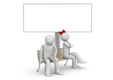 Uomo e donna offensivi su un banco con copyspace Royalty Illustrazione gratis