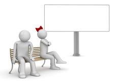 Uomo e donna offensivi su un banco con copyspace Illustrazione Vettoriale