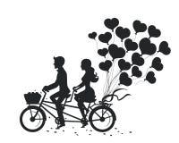 Uomo e donna romantici delle coppie ad una data che conduce bici illustrazione di stock