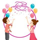 Uomo e donna soddisfatti della decorazione del partito royalty illustrazione gratis