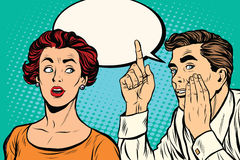Uomo e donna un gossip segreto di udienza illustrazione di stock