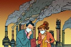 Uomo e donna in una maschera medica che soffoca dallo smok industriale illustrazione di stock