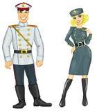 Uomo e donna in uniforme militare Fotografia Stock Libera da Diritti