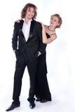Uomo e donna in vestiti in bianco e nero Immagini Stock Libere da Diritti