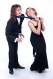 Uomo e donna in vestiti in bianco e nero Immagine Stock