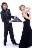 Uomo e donna in vestiti in bianco e nero Immagini Stock
