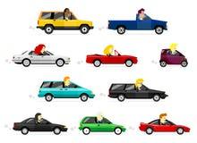 Uomo e donne di affari che conducono le automobili Fotografia Stock
