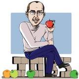 Uomo e la sua mela Fotografia Stock Libera da Diritti