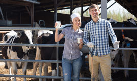 Uomo e lavoratrici agricole sorridenti che stanno con nel capannone della mucca Fotografia Stock