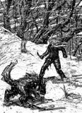 Uomo e lupo alla notte nella foresta nevosa Immagini Stock