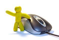 Uomo e mouse del Plasticine Immagini Stock