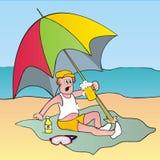 Uomo e parasole Illustrazione di Stock