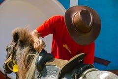 Uomo e piccolo cavallo Fotografia Stock
