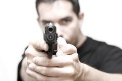 Uomo e pistola 01 Fotografie Stock Libere da Diritti