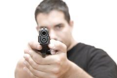 Uomo e pistola 03 Fotografie Stock Libere da Diritti