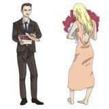 Uomo e ragazza dell'illustrazione di vettore con una scatola di caramelle e fiori illustrazione di stock