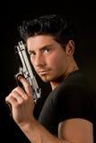 Uomo e revolver Fotografie Stock