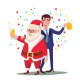 Uomo e Santa Claus Vector ubriachi Festa di Natale corporativa al ristorante o all'ufficio Rilassamento celebrando concetto illustrazione vettoriale