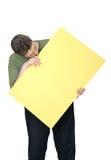 Uomo e segno in bianco Fotografia Stock