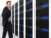 Uomo e server 3d Immagini Stock