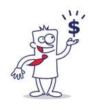 Uomo e simbolo di dollaro di affari Immagini Stock Libere da Diritti