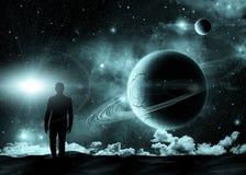 Uomo e spazio Immagine Stock