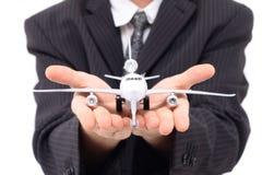 Uomo ed aeroplano immagine stock