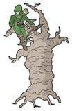 Uomo ed albero del fumetto Immagini Stock Libere da Diritti