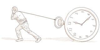 Uomo ed orologio illustrazione vettoriale