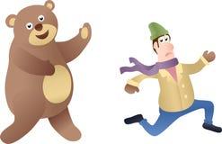 Uomo ed orso correnti Immagini Stock Libere da Diritti