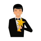 Uomo elegante con il vincitore del trofeo Fotografie Stock