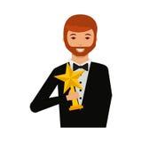 Uomo elegante con il vincitore del trofeo Fotografie Stock Libere da Diritti