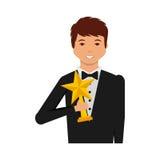 Uomo elegante con il vincitore del trofeo Immagini Stock Libere da Diritti
