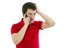 Uomo emozionale che parla sul telefono Fotografia Stock