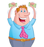 Uomo emozionante che sostiene soldi in mani Fotografia Stock