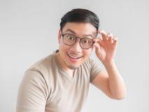 Uomo emozionante con gli occhiali Fotografia Stock