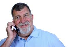 Uomo emozionante sul telefono Fotografia Stock