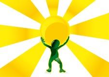 Uomo a energia solare Fotografia Stock